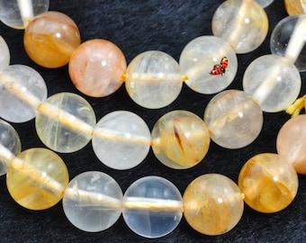 Citrine smooth round beads 8mm,47 pcs