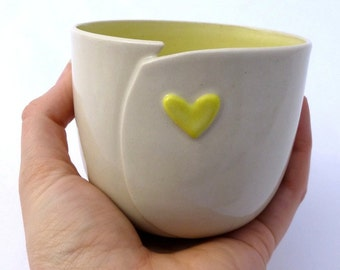 Altered Beaker with Heart Accent   modern cup   stoneware   ceramics   pottery   coffee tea   love