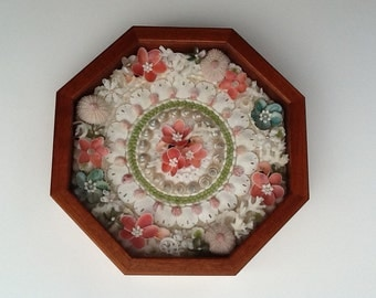 "Sailor's Valentines,  ""CORAL GARDEN"" Sailor's Valentine, Shadow Boxes, Shell Box, Sailor Valentine Shell Art, Valentine Boxes"