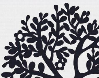 Black and White Tree PDF Cross Stitch Pattern