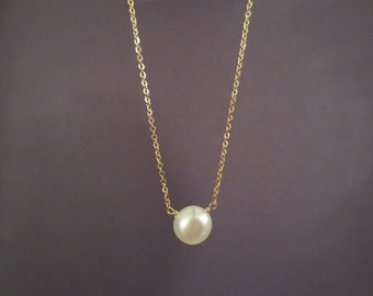 Beautiful, Single, Freshwater, White, Button, Pearl, Gold Filled, Sterling Silver, Necklace, Birthday, Friendship, Gift, Accessory, Jewelry