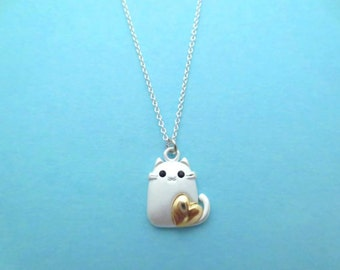 Lovely, Gold, Heart, Cat, Silver, Necklace, Super, Cute, Kitten, Kitty, Cat, Animal, Necklace, Birthday, Lovers, Friends, Gift, Jewelry