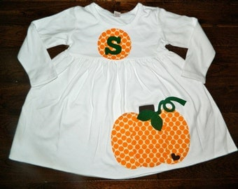 Fall Dress-Pumpkin Dress-Personalized Pumpkin Dress-Girls Fall dress- You choose Color