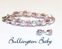 Baby Bracelet, Baby Pearl Bracelet, Baby Jewelry, Baby Bracelet and Earring Set, Girls Bracelet and Earring Set,  Girls Jewelry (B17)
