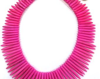 40cm Pink Coloured Howlite Spike Strand
