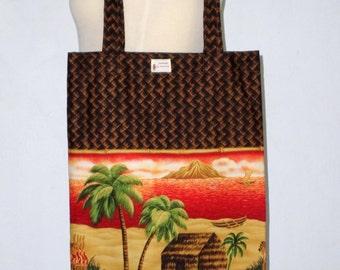 Handmade Slim Tote Bag - Yoga Mat Tote Bag - Hula Bag - Cotton Coconut Trees and Straw House Hawaiian Print