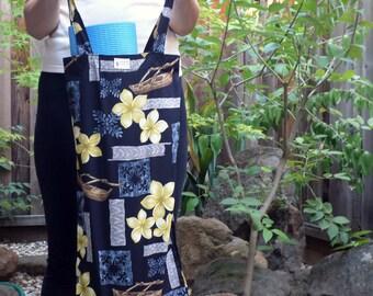 Handmade Slim Tote Bag - Yoga Mat Tote Bag - Hula Bag - Cotton Plumeria Flowers on Black