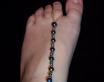 Handcrafted Iridescent Plastic Beaded Barefoot Sandals #193