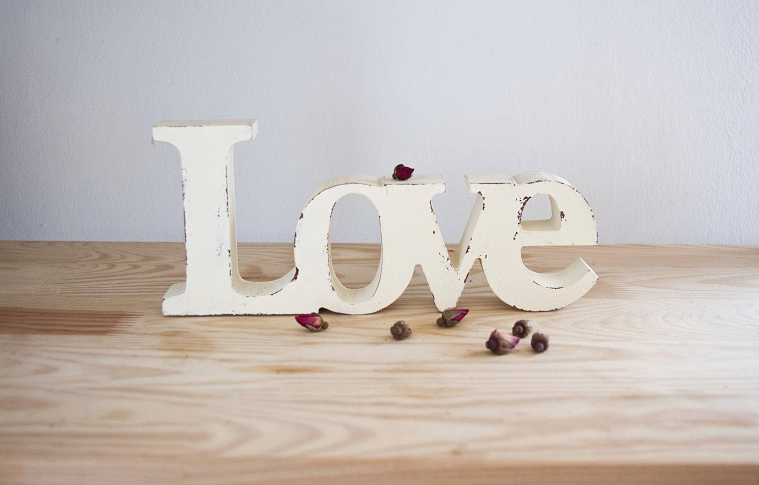 Love wooden sign shabby chic word decorative word by lekaart for Another word for decoration