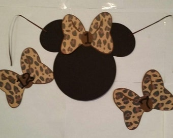 8 ct or 16 ct Cheetah Print Pin the Bow on  Minnie  GAME banner  /  Minnie  banner /  baby shower banner / Minnie