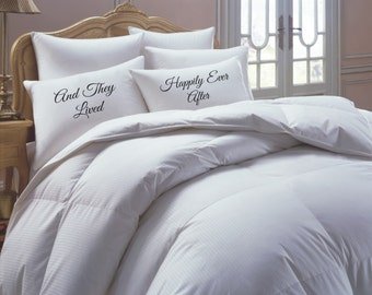 His and Her Pillowcase set, and they lived happily ever after, pillow case set, couples pillowcases
