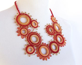 Casual Statement Bib Necklace in Reds and Amber - Efflorescence Line