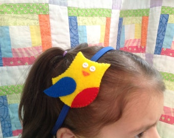 Head band (elastic band) with felt owl design (from 100% recycled plastic bottle)