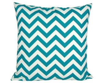 Pillowcase zigzag CHEVRON 60 x 60 cm turquoise and white