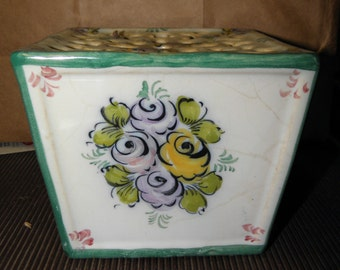 Vintage EPL Alcobaca Faience Majolica Hand Painted and made in Portugal Flower Frog