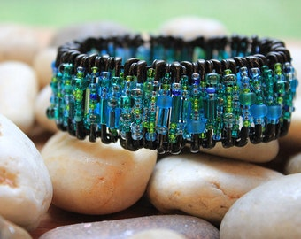 Sea Green and Black Safety Pin Bracelet
