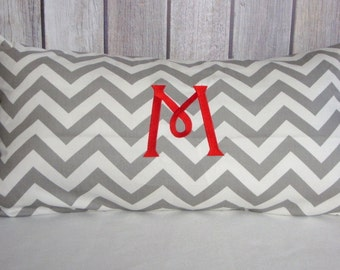 Lumbar Pillow Cover. 14x24 Monogram Pillow Cover, Chevron Pillow. Home Decor