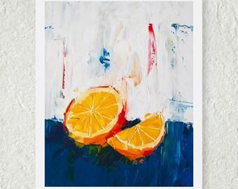 Orange Painting, Blue and Orange Art, Art for the Kitchen, Bright Art Print, Orange Artwork, Oil Painting Print, Food Painting, Still life