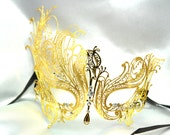 Black Swan Laser Cut Venetian Masquerade Mask with Sparkling Crystals - Luxury Filigree Metal Mask Collection