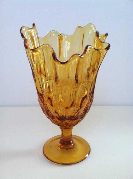 Vintage Amber Ruffled Art Glass Vase by Vintagefully on Etsy Ruffled Glass Vase