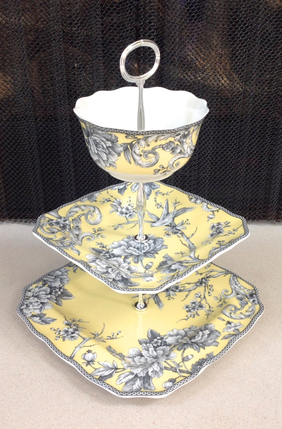3 Tier Cake Stand Yellow Toile Country Cottage French