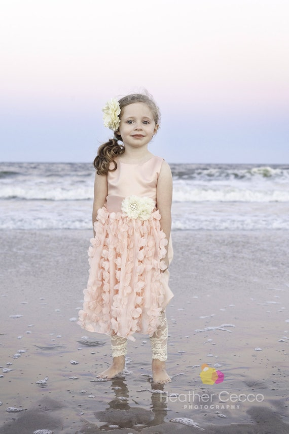 beach wedding flower girl dress petal pink blush toddler dress vintage by 1585