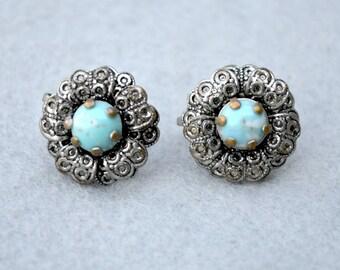 Blue Art Glass Silver Tone Vintage Earrings