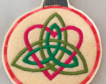 Trinity Heart Knot embroidered Yule Ornament wiccanCeltic