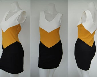 Color Block White Black yellow short dress One size fit XS-S