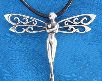 Serenity Dragonfly Fairy Pendant in Silver