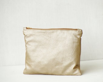Bronze metallic leather clutch, shining clutch, casual clutch purse, vegan leather pouch, sparkly clutch, tan bronze leather bag, brown tan