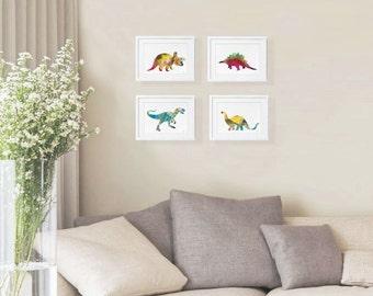 Dinosaur Art - Print Set of 4 - 5x7 Watercolor Prints, Triceratops, T-Rex, Stegosaurus, Brontosaurus Minimalist Art - Wall Decor, Home Decor