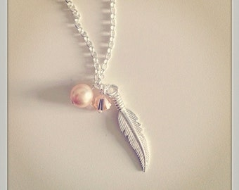 Bliss Feather Necklace, Sterling Silver, Swarovski Pearl, Swarovski Crystal