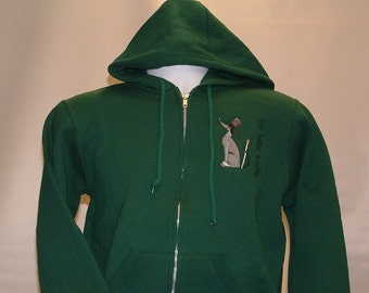 SW10 On The Town Embroidered Greyhound Sweatshirt Hoodie.  Sale Priced!