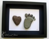 Modern New Baby Gift - Personalized New Baby Gifts- Baby Shower Gift - Modern Nursery Pebble Art - Personalized Pebble Art