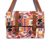 Leather and Canvas Bicycle Bag/ tribal Aztec bicycle bag/shoulder bag/satchel
