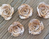 5 Burlap Rose Flower- Handmade Rustic White Lace Collection Posey Rose Roses Natural Rustic Wedding Decoration Bridal Decor Card Making