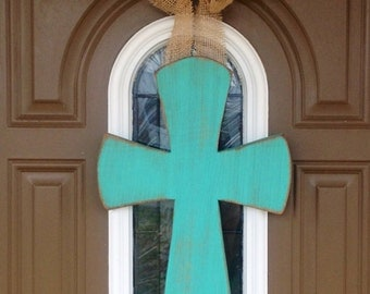 "18"" Wood Cross (ANY COLOR) w/ burlap flower"