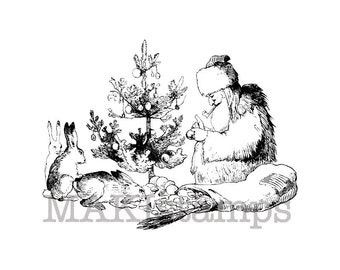 Holiday rubber stamp / Belsnickel with bunnies and eggs / Unmounted rubber stamp (130502)