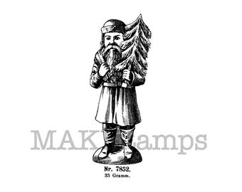 Santa Claus with Christmas tree / Xmas stamp / Unmounted rubber stamp (140706)