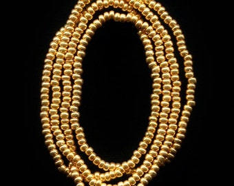 Strands 10/0 Gold Metallic Rocailles - Czech Glass Seed Beads - 2 or 6 Strand Options.