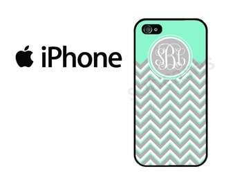 iPhone 6 Case iPhone 4 Case iPhone 5c Case iPhone 5 Case iPhone 5s Case iPhone 4s Case , Mint Chevron Personalized Monogram iPhone Case