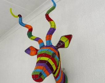 African Beaded Wire Animal Sculpture - KUDU ANTELOPE TROPHY Head - Rainbow