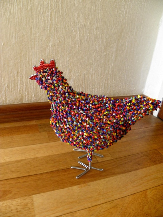 African Beaded Wire Animal Sculpture - CHICKEN LARGE - Purple Multicolored