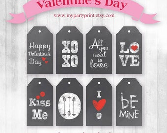 Printable Chalkboard Valentine's Day Tags / DIY Gift Tags - Instant Download