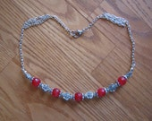 Beautiful Silver Necklace with Facetted Red Ruby & Roses