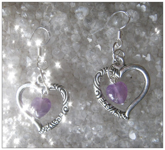 Handmade Silver Heart Earrings with Amethyst Hearts by IreneDesign2011