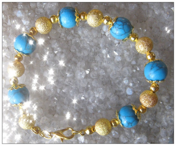 Handmade Gold Bracelet with Turquoise & Gold Dust by IreneDesign2011
