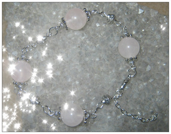 Handmade Silver Bracelet with Rose Quartz by IreneDesign2011