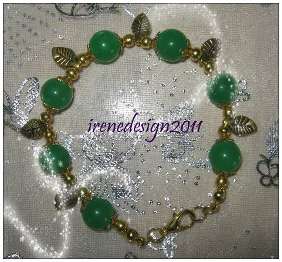 Beautiful Handmade Gold Bracelet with Green Jade & Leaves